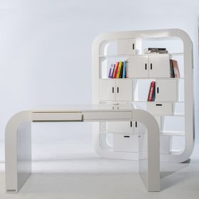 Minimalist, Contemporary Design Desk, Shelves and Loung Chair by Signalement