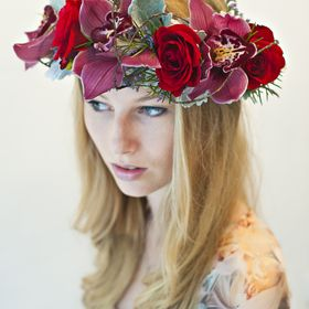 Pink Light Blue Rose Bud Flower Garland Headband Hair Crown Floral Festival 1882