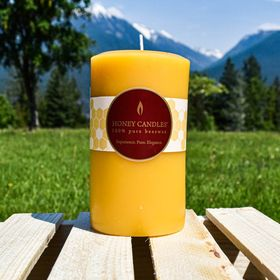 Green Pastures Wholesale Beeswax White Pillar Candle 3-Inch by 4-Inch