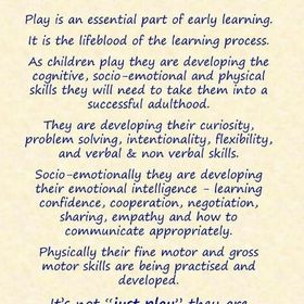 IT'S NOT JUST PLAY IT'S HOW WE LEARN.... Children learn life skills through play so let's get it right and engage, motivate and provide real