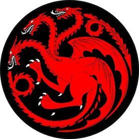 "I.Z. Targaryen ""Fire and Blood"" With Red-Circle Sigil of Three-Headed Dragon"