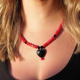 18.5 Lapis Lazuli and mahogany red gemstone pendant necklace 2