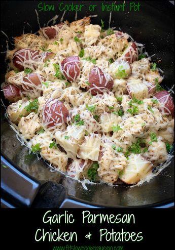 Slow Cooker/Instant Pot Garlic Parmesan Chicken & Potatoes
