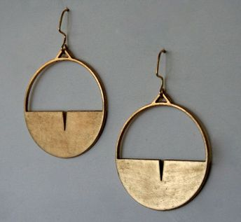 Semi circle hoop drop Gold plated brass earrings with semi circle detail, Post