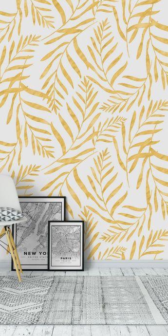 Leaves Golden Wall mural
