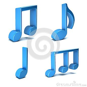 Musical Notes isolated in white background.