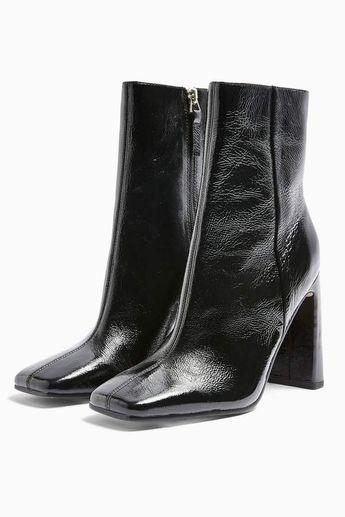 HALIA Leather Black Square Toe Boots