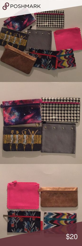 Lot of 8 IPSY makeup bags Great lot of 8 makeup/travel bags from Ipsy.   Pink, houndstooth, pineapple print, copper, ikat, galaxy, dancing girls, and silver studs.   Pouches are cloth, vinyl, and plastic   All in great condition. ipsy Makeup Brushes & Tools