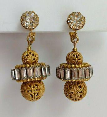 Details about Vintage MIRIAM HASKELL Gold filigree Flower rhinestone PEARL  dangle EARRINGS c28c0d013865