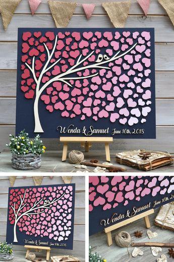 Custom guest book, 3D Guest book, Rustic guestbook, Pink Guest book, Wooden guestbook, Unique guest book, Garden wedding guest book