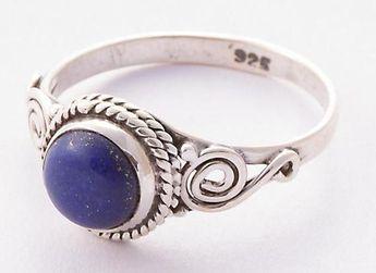 Lapis Lazuli Ring, 925 Sterling Silver, September Birthstone, Round Stone Ring, Bridal Jewelry, Trad