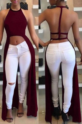 Sexy Backless Asymmetrical Blouse