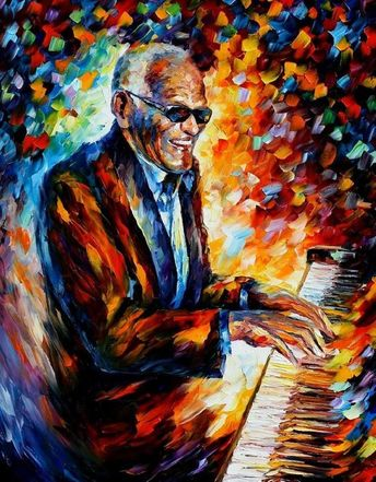 """Ray Charles oil painting — Ray Charles portrait, Ray Charles art, Ray Charles decor Ray Charles picture, Size: 30"""" x 40"""" inches, 75 x 100 cm"""