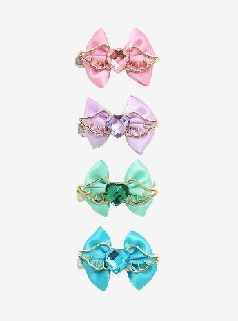 Pastel Wings & Bows Hair Clip Set