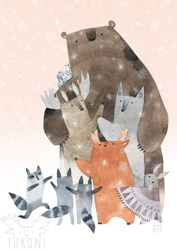 Let's hug Art print Forest animals watercolor Woodland poster Animals art print Woodland poster Wint