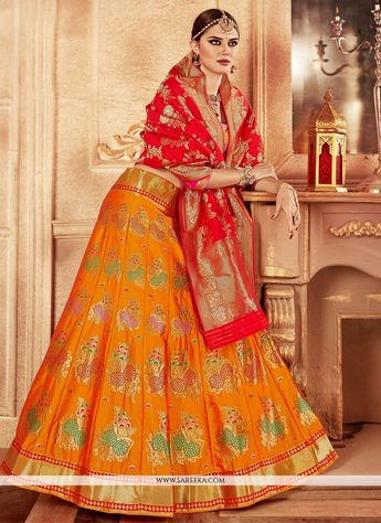 d3de979fbe Yellow Rajwadi style lehenga choli for royal wedding J17509