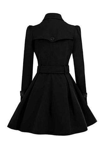 Black Plain Belt Pleated Turndown Collar Double Breasted Peplum Wool Coat - Outerwears - Tops
