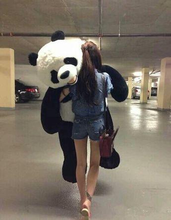 panda and girl afbeelding