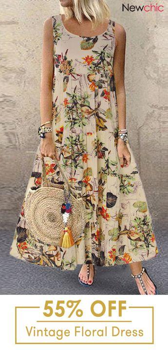 Vintage Floral Print Sleeveless Crew Neck Maxi Dress.