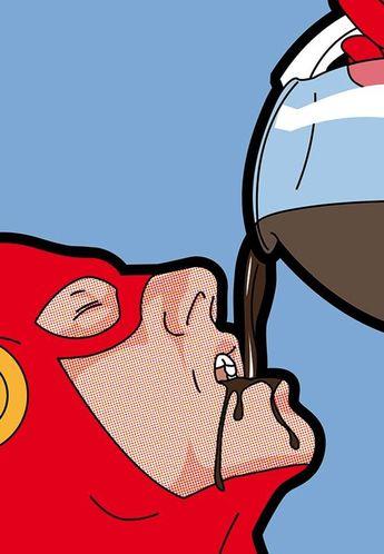 Cet artiste met en scène les super héros dans des situations gênantes