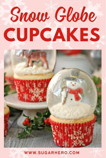 Snow Globe Cupcakes - the BEST Christmas cupcakes! Made with gelatin bubbles, so the entire cupcake is edible! | From SugarHero.com  #snowglobecupcakes #christmascupcakes