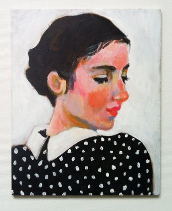 Rimma- Original portrait painting made with acrylic on mdf - vintage girl - woman portrait - ladys paintings- black and white and pink