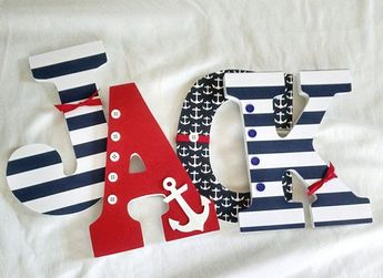 Nautical nursery letters, Nautical baby boy name, custom nautical wooden letters, nautical nursery decor, wooden letters for boy