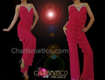 f6778c228 CHARISMATICO Fiery Red Fringe Salsa Dance Pants With Crystal Trimmed  Neckline