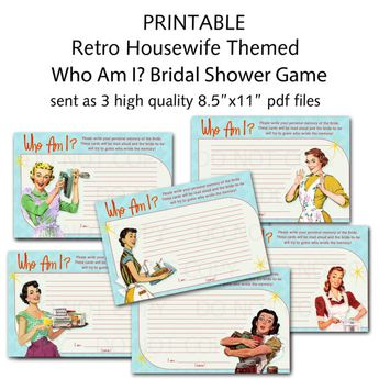 printable 1950s retro housewife bridal shower game who am i set of 6