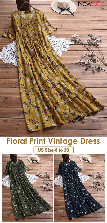 Pleated Leaves Floral Print Short Sleeve Vintage Dress.