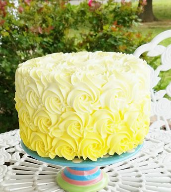 Yellow Ombre Rosette Fake Cake Photo Prop, House Staging, Home and Kitchen Decor #FakeCupcakeCreations