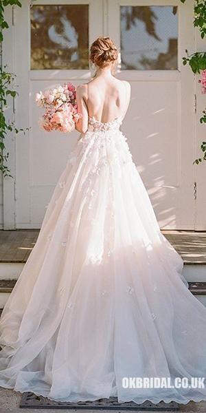 Spaghetti Straps Chiffon Backless A-Line Applique Wedding Dresses, FC1905 #wedding #weddingdresses #weddingdress #bridalgown #2019weddingdresses