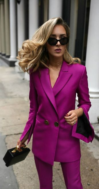 TREND MEMO: Power Dressing // Magenta double breasted blazer, magenta slim fit pants, leather box bag, gold front hoop earrings, multi-row choker, large black sunglasses {Petar Petrov, Mark Cross, DVF, fall winter 2017 trends, fall fashion trends, classic dressing, power suit, power dressing, wear to work, office style, office attire}