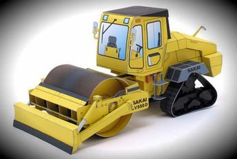Japanese Vibratory Soil Compactor CV550D Paper Model - by Sakai  =   A beautiful and very weel done papr model of the Earthwork Heavy Machine CV550D, in a paper version by Japanese designer Hiroshi Chiba, comissioned by Sakai industries.