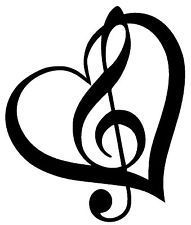 Treble Clef inside heart with outline vinyl decal/sticker cute music note