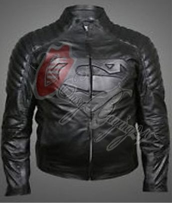 Black Superman Movie Celebrity Replica Real Leather Jacket with Padded Shoulders