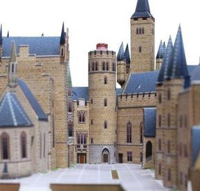 Occupying 17 sheets of paper and measuring 22 cms x 28 cms, this detailed paper model of the Hohenzollern Castle in Germany was create...
