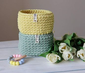 Pale mint crochet basket/ pastel yellow home decor/ storage basket/ pastel storage, decorative basket, home organizer, kids room storage