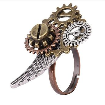 Women's Coffee Vintage Style Ring - Alloy Gear Ladies, Steampunk Jewelry Gold For Daily Holiday Adjustable