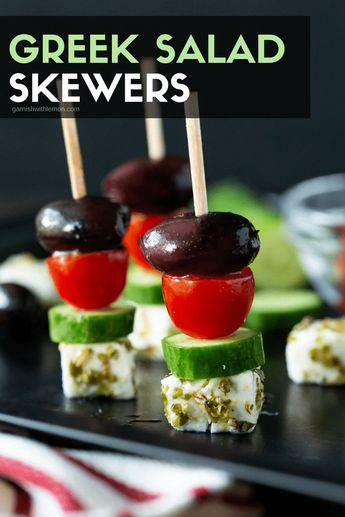 File away these easy Greek Salad Skewers for your next party. These make-ahead, delicious appetizers are fresh, colorful and gluten-free! #appetizer #Greeksalad #makeahead