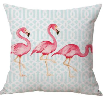 Nordic style Simple Design Linen Fabric Printing Flamingo Cushion Pillow