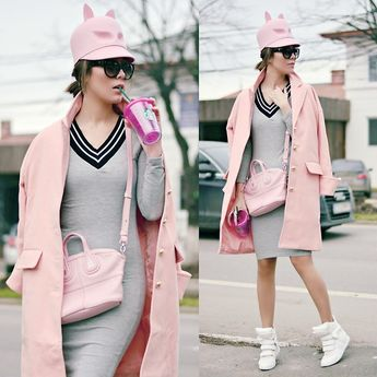 Modainlove Dress, Givenchy Bag, Sheinside Coat, Jessicabuurman Sneakers, Kristina Dragomir Hat