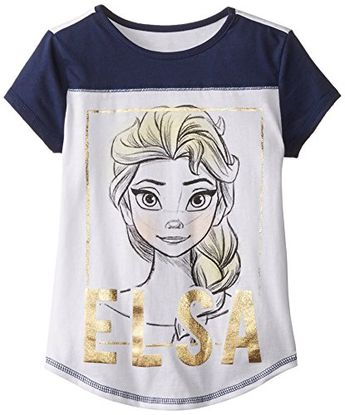 28895fbe Disney Big Girls Frozen Elsa Jersey Colorblock Baseball TShirt with Cover  Stitch WhiteNavy XLarge --