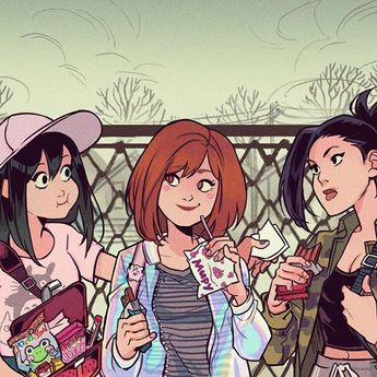 Between classes 🍪🍫🥤Who's your favorite girl in My Hero Academia? #myheroacademia #manga #anime #comics #art