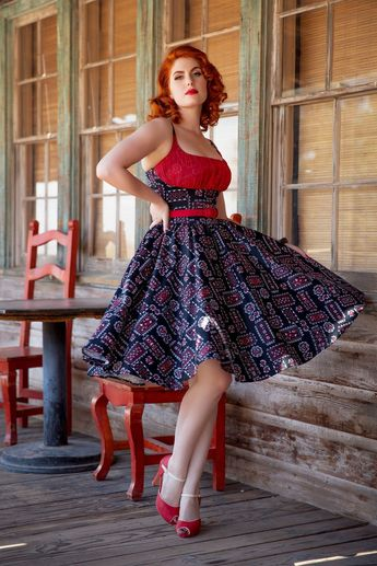 Final Sale - Pinup Couture Holly Swing Dress in Black Bandana Print