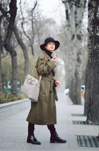 b92d21b6b6898 Actress  LiMeng wears a  Burberry trench coat with  TheBeltBag in Beijing