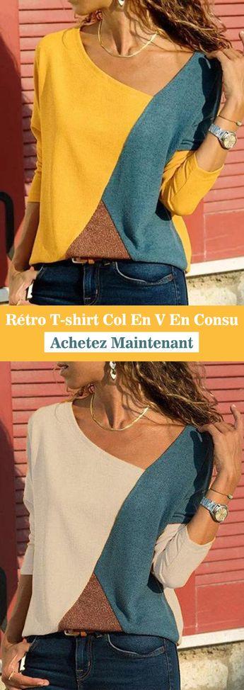 Long Sleeve Patchwork Vintage V Neck T-Shirts