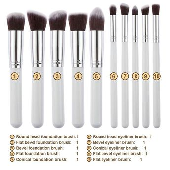 $8.01 - Nice 10 Pcs Silver/Golden Makeup Brushes Set pincel maquiagem Cosmetics maquillaje Makeup Tool Powder Eyeshadow Cosmetic Set - Buy it Now!