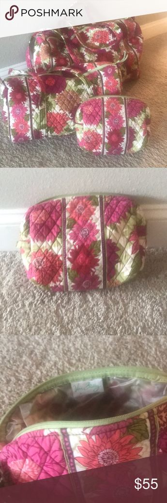 Vera Bradley Dahlia Patterned Bags Vera Bradley Dahlia patterned large duffle, small duffle, and matching make-up bag Vera Bradley Bags Travel Bags