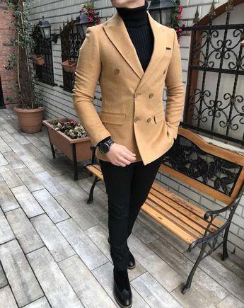 a5368d5b1d819 İtalyan stil erkek slim fit kadife kaşe blazer camel tek ceket T3089 - # blazer #